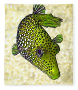 Guinea Fowl Puffer Fish In Green Fleece Blanket