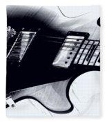 Guitar - Black And White Fleece Blanket