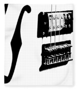 Guitar Graphic In Black And White  Fleece Blanket