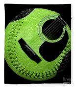 Guitar Keylime Baseball Square  Fleece Blanket