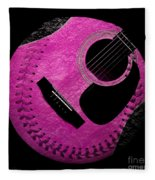 Guitar Raspberry Baseball Fleece Blanket