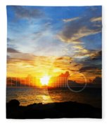 Guitar Sunset - Guitars By Sharon Cummings Fleece Blanket