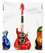 Guitar Threesome - Colorful Guitars By Sharon Cummings Fleece Blanket