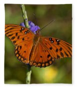 Gulf Fritillary Butterfly Fleece Blanket