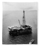 Gulf Of Mexico Oil Rig, 1950 Fleece Blanket