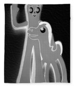 Gumby And Pokey B F F In Negative Black And White Fleece Blanket
