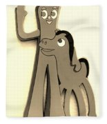 Gumby And Pokey B F F In Sepia Fleece Blanket