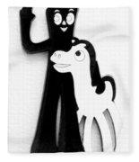 Gumby And Pokey B F F White Black Fleece Blanket