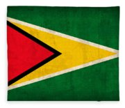 Guyana Flag Vintage Distressed Finish Fleece Blanket
