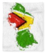 Guyana Painted Flag Map Fleece Blanket