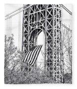 Gw Bridge American Flag In Black And White Fleece Blanket