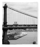 Manhattan Bridge Span Fleece Blanket