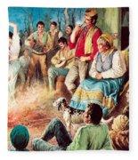 Gypsies Partying Fleece Blanket