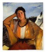 Gypsy With A Cigarette Fleece Blanket