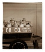 H And G Oil Company In Sepia Fleece Blanket