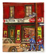 H. Piche Grocery - Goosevillage -paintings Of Montreal History- Neighborhood Boys Play Street Hockey Fleece Blanket