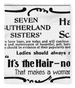 Hair Treatment Ad, 1894 Fleece Blanket
