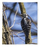 Hairy Woodpecker - Female Fleece Blanket