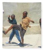 Haitian Boys Playing Soccer Fleece Blanket