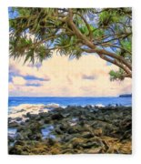Hala Trees At Ka'anae Point Fleece Blanket
