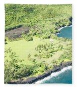 Aerial View Hale O Pi'ilani Heiau Honomaele Hana Maui Hawaii  Fleece Blanket