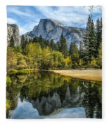 Half Dome Reflected In The Merced River Fleece Blanket