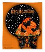 Halloween Black Cat Cupcake 2 Fleece Blanket