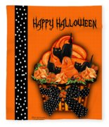 Halloween Black Cat Cupcake 3 Fleece Blanket