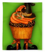 Halloween Cupcakes - Green Fleece Blanket