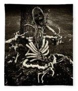 Halloween Green Skeleton Vinette Black And White Fleece Blanket