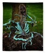Halloween Green Skeleton Vinette Fleece Blanket
