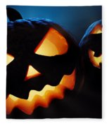 Halloween Pumpkins Closeup -  Jack O'lantern Fleece Blanket by Johan Swanepoel
