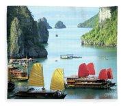 Halong Bay Sails 01 Fleece Blanket