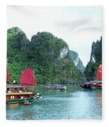 Halong Bay Sails 04 Fleece Blanket