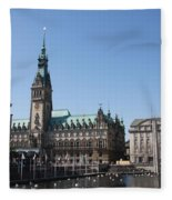 Hamburg - City Hall With Fleet - Germany Fleece Blanket