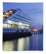 Hamburg Dockland At Night Fleece Blanket
