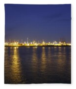 Hamburg Harbor Skyline Fleece Blanket