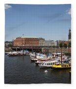 Hamburg Port With Fleet  Fleece Blanket