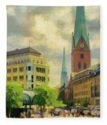 Hamburg Street Scene Fleece Blanket