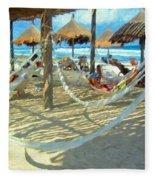 Hammocks And Palapas - Xel-ha Mexico Fleece Blanket