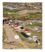Hampi Bathing Ghats Fleece Blanket