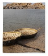 Hampi River Scenes Fleece Blanket