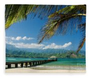Hanalei Pier And Beach Fleece Blanket