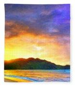 Hanalei Sunset Fleece Blanket