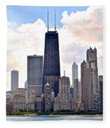 Hancock Building In Chicago Fleece Blanket