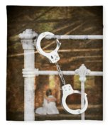 Handcuffs On Bed Fleece Blanket