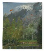 Hang Gliders At Chamonix, 2007 Oil On Canvas Fleece Blanket