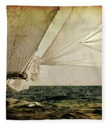 Hanged On Wind In A Mediterranean Vintage Tall Ship Race  Fleece Blanket