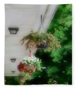 Hanging Flower Baskets On A Porch  Fleece Blanket