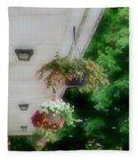 Hanging Flower Baskets On A Porch  Fleece Blanket